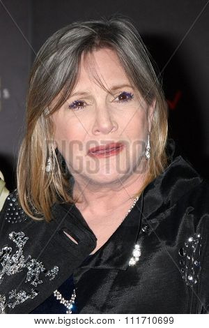LOS ANGELES - DEC 14:  Carrie Fisher at the Star Wars: The Force Awakens World Premiere at the Hollywood & Highland on December 14, 2015 in Los Angeles, CA