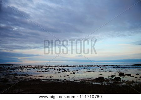 Silhouettes Of The Naked Seabed At High Low Tide