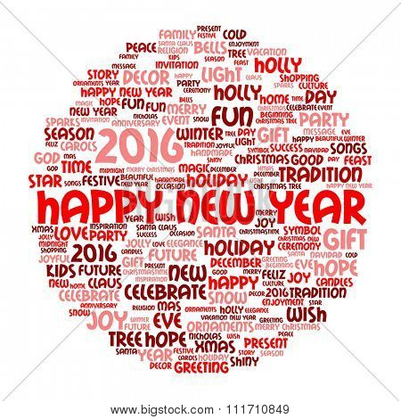 Concept or conceptual red Happy New Year 2016 Christmas abstract holiday word cloud isolated on background metaphor to happy, celebrate, eve, festive, future, joy, december, wish, jolly Santa