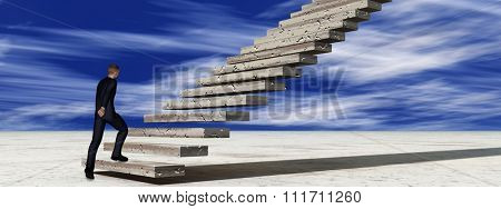Concept conceptual 3D business man walking climbing stair on sky background with clouds banner metaphor to success, career, work, job, achievement, development, growth, progress, vision, future faith