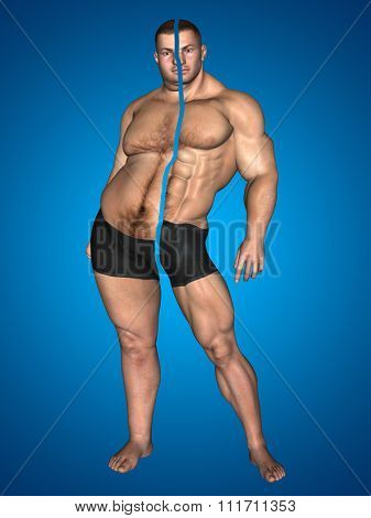 Concept or conceptual 3D fat overweight vs slim fit with muscles young man on diet on blue background for weight loss, body, fitness, fatness, obesity, health, healthy, male, dieting or shape