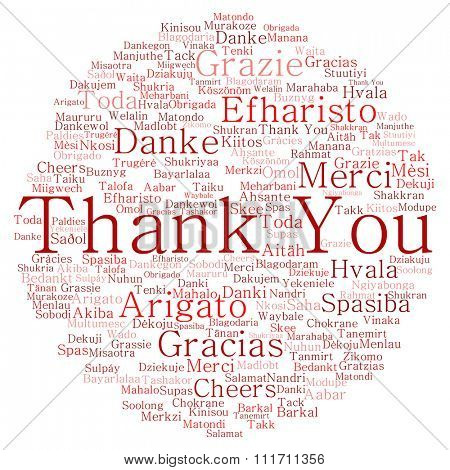 Concept conceptual red circle abstract thank you word cloud in different languages or multilingual for education Thanksgiving Day  metaphor to appreciation, multicultural, friendship, tourism travel