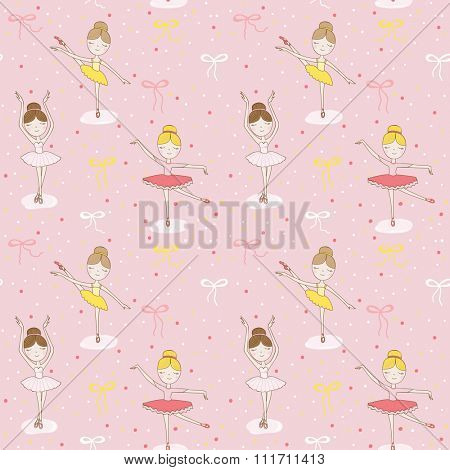 Cute Ballerina Background - Seamless Pattern - in vector