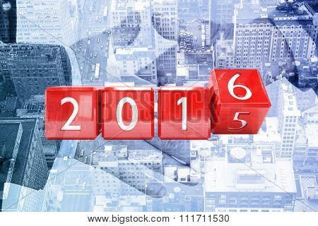 Red blocks showing 2016 against composite image of two people going to shake their hands