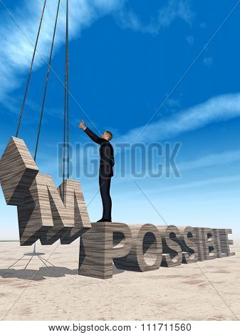 Concept conceptual 3D business man standing over abstract stone impossible text on sky background metaphor to success, career, work, job, achievement, development, growth, progress, vision, possible