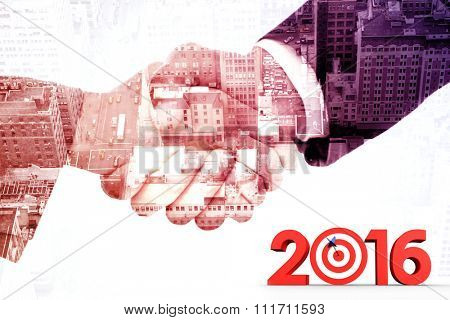 2016 graphic against composite image of handshake between two business people