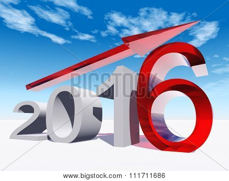 Conceptual 3D red 2016 year symbol with an arrow on blue sky background for success, growth, graph, future, finance, financial, new year, holiday, increase, rise date career forecast progress december