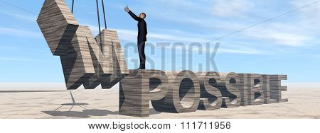 Concept conceptual 3D business man standing over abstract stone impossible text on sky banner background for success, career, work, job, achievement, development, growth, progress, vision, possible