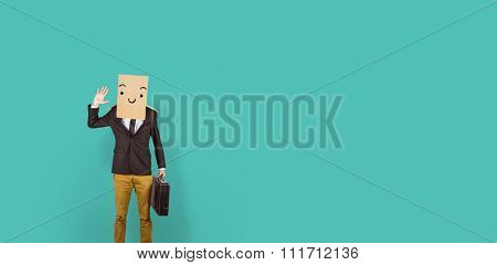 Anonymous businessman against blue vignette background