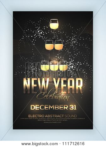 Elegant Flyer, Banner or Pamphlet with champagne glasses stacked for Happy New Year 2016 Eve Party celebration.
