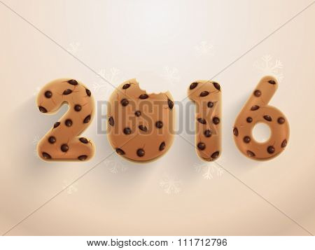 Stylish text 2016 made by delicious cookies on snowflakes decorated glossy background for Happy New Year celebration.