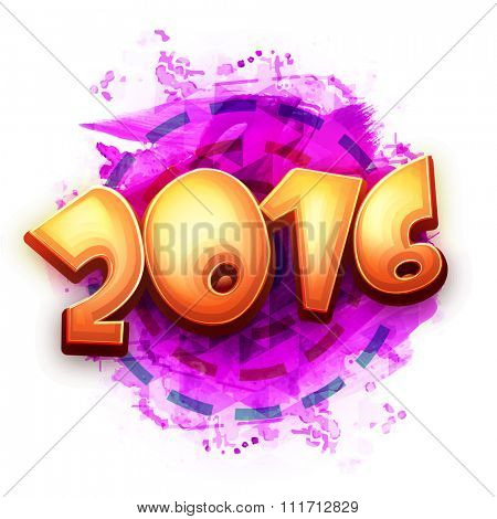Creative glossy text 2016 on abstract background for Happy New Year celebration.