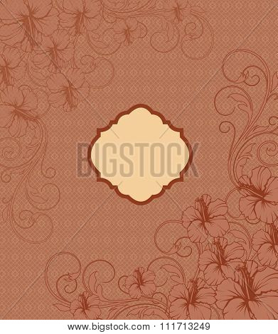 Vintage invitation card with ornate elegant retro abstract floral design, dark orange flowers and leaves on brownish orange background with yellow plaque text label. Vector illustration.