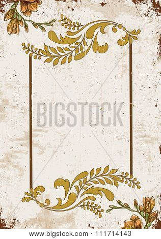 Vintage invitation card with ornate elegant retro abstract floral design, yellow orange and brownish yellow flowers and leaves on scratch textured background with text label. Vector illustration.