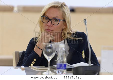 ST. PETERSBURG, RUSSIA - DECEMBER 13, 2015: Head of department of culture, sport, and youth policy of Novosibirsk Anna Tereshkova at the round table discussion during 4th St. Petersburg Cultural Forum
