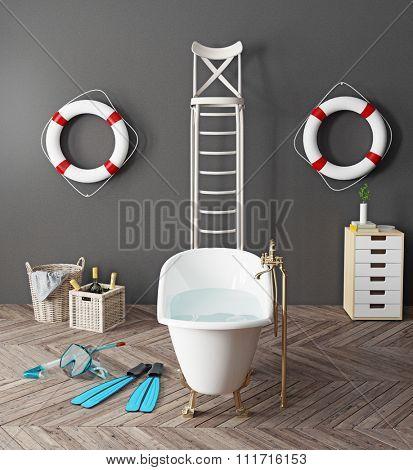 bizarre bathroom interior. 3d concept