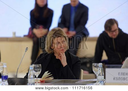 ST. PETERSBURG, RUSSIA - DECEMBER 13, 2015: Director of Kaliningrad State Center of Contemporary Art Elena Tsvetayeva at the round table discussion during St. Petersburg International Cultural Forum