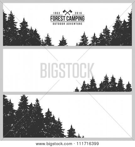 Set of three horizontal banners. Silhouette of a pine forest. Logo - Forest Camping
