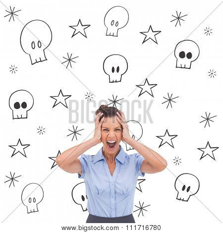 Stressed businessswoman with hand on her head against swearing doodles