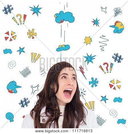 Beauty brown hair in white coat screaming against swearing doodles