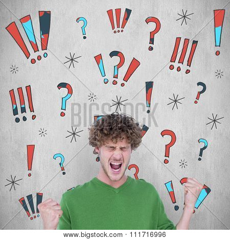 Furious man screaming with clenched fists against white background