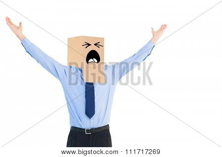 Cheering anonymous businessman against white background with vignette