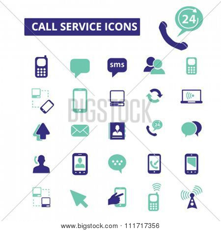 call service, communication, connection, technology, mobile  icons, signs vector concept set for infographics, mobile, website, application