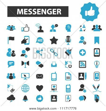 messenger, contact, social community icons, contact us, phone, cell, telephone icons