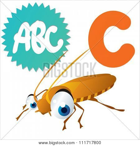 vector cartoon comic illustration for animal funny alphabet. Badges, stickers or logos or icons designs with animals. C is for Cockroach