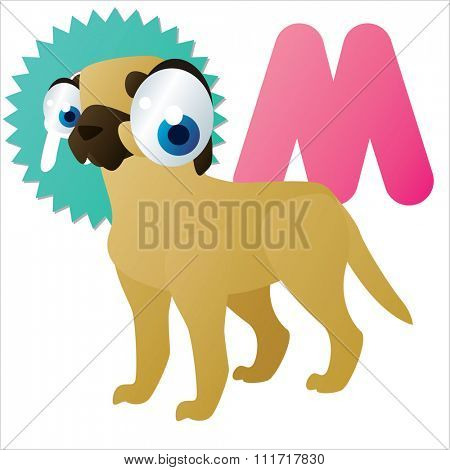 vector cartoon comic illustration for animal funny alphabet. Badges, stickers or logos or icons designs with animals. M is for Mastiff