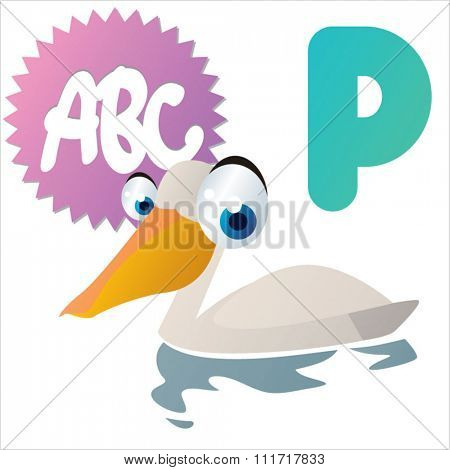 vector cartoon comic illustration for animal funny alphabet. Badges, stickers or logos or icons designs with animals. P is for Pelican