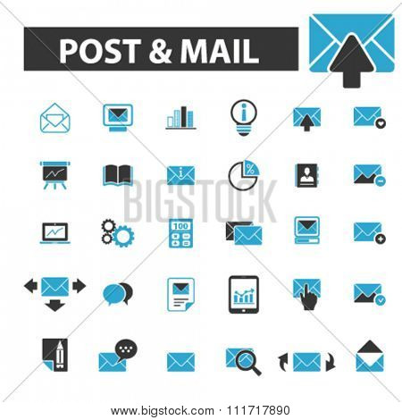 post, mail, email, message, mail  icons, signs vector concept set for infographics, mobile, website, application
