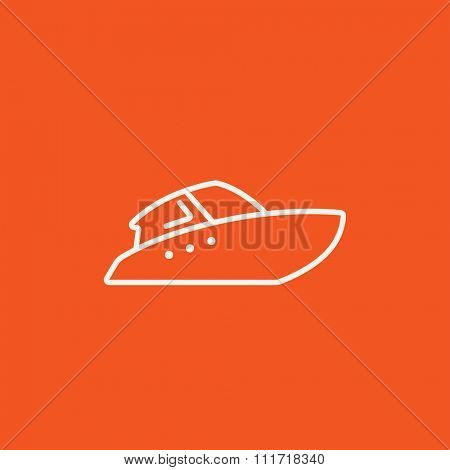 Speedboat line icon for web, mobile and infographics. Vector white icon isolated on red background.