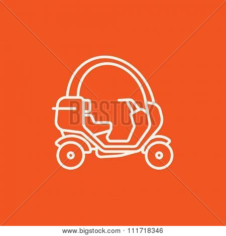 Rickshaw line icon for web, mobile and infographics. Vector white icon isolated on red background.