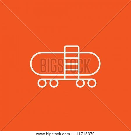 Railway cistern line icon for web, mobile and infographics. Vector white icon isolated on red background.