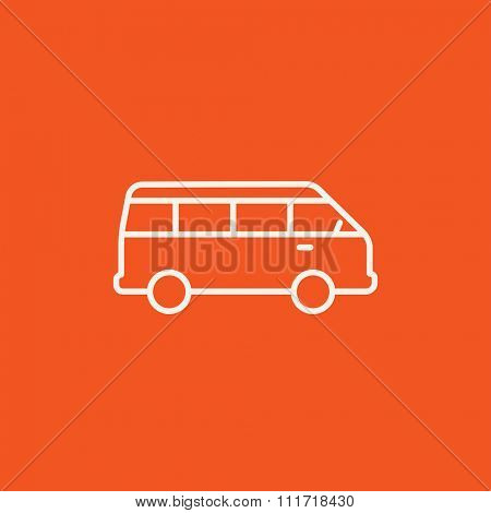 Minibus line icon for web, mobile and infographics. Vector white icon isolated on red background.