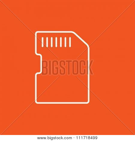 Memory card line icon for web, mobile and infographics. Vector white icon isolated on red background.