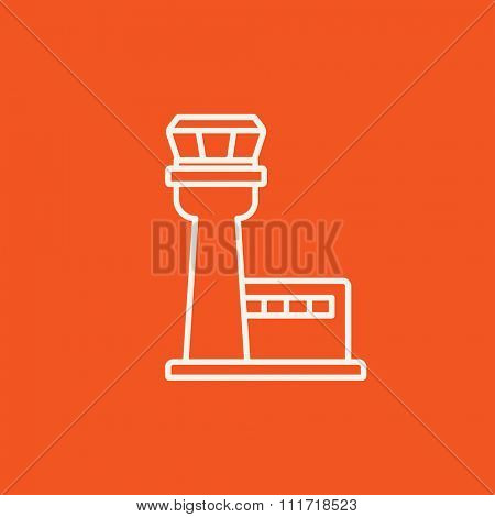 Flight control tower line icon for web, mobile and infographics. Vector white icon isolated on red background.