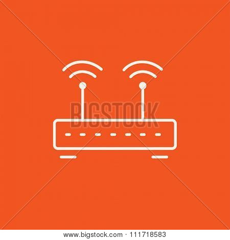 Wireless router line icon for web, mobile and infographics. Vector white icon isolated on red background.
