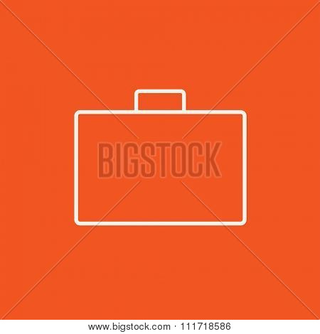 Briefcase line icon for web, mobile and infographics. Vector white icon isolated on red background.