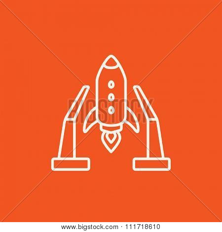 Space shuttle on a take-off area line icon for web, mobile and infographics. Vector white icon isolated on red background.
