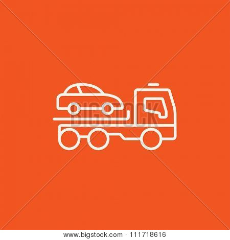 Car towing truck line icon for web, mobile and infographics. Vector white icon isolated on red background.