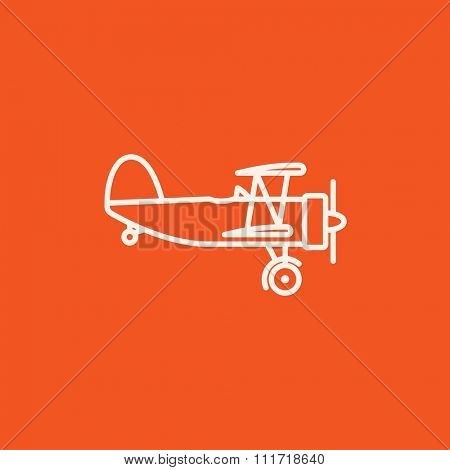 Propeller plane  line icon for web, mobile and infographics. Vector white icon isolated on red background.