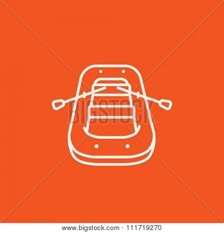 Inflatable boat line icon for web, mobile and infographics. Vector white icon isolated on red background.