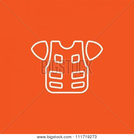 Motorcycle suit line icon for web, mobile and infographics. Vector white icon isolated on red background.