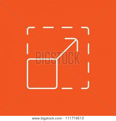 Scalability line icon for web, mobile and infographics. Vector white icon isolated on red background.