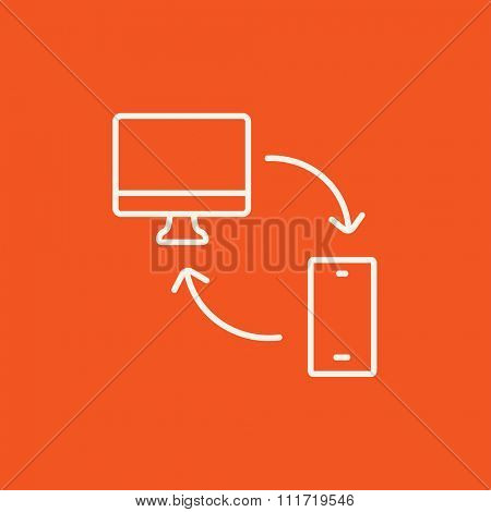 Synchronization computer with mobile device line icon for web, mobile and infographics. Vector white icon isolated on red background.