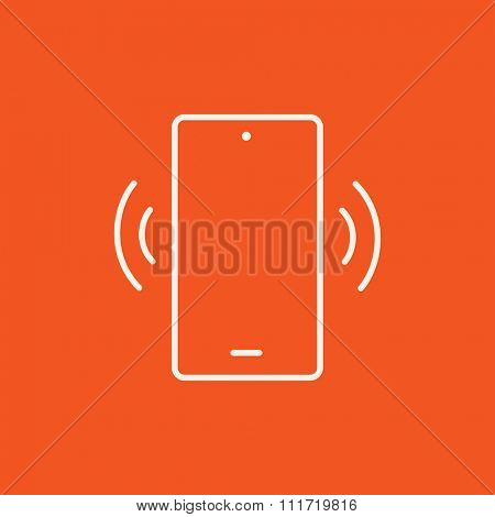 Vibrating phone line icon for web, mobile and infographics. Vector white icon isolated on red background.