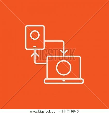 Synchronization smartphone with laptop line icon for web, mobile and infographics. Vector white icon isolated on red background.