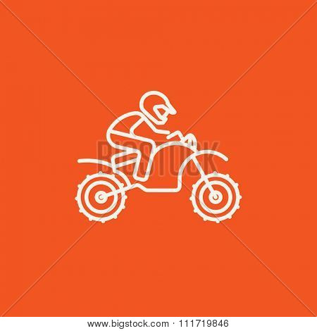 Man riding a motocross bike line icon for web, mobile and infographics. Vector white icon isolated on red background.